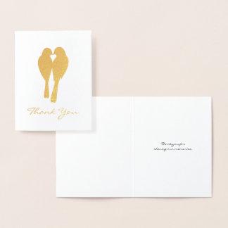 Merci d'or de perruches d'anniversaire carte dorée