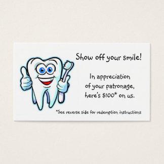 merci du dentiste cartes de visite