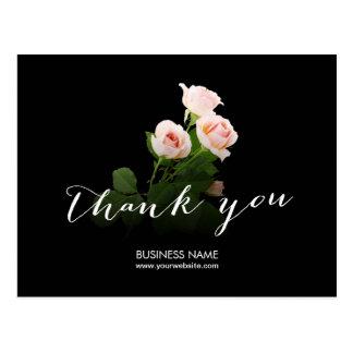 Merci élégant d'affaires de calligraphie de roses carte postale