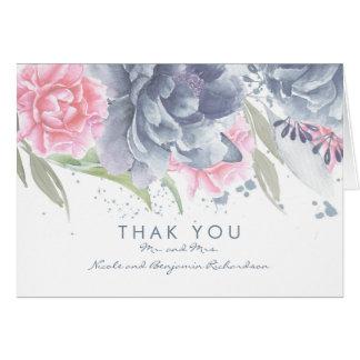Merci élégant floral de mariage d'aquarelle en carte de correspondance