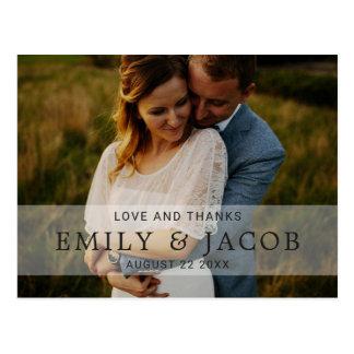 Merci élégant simple de mariage d'amour et de cartes postales