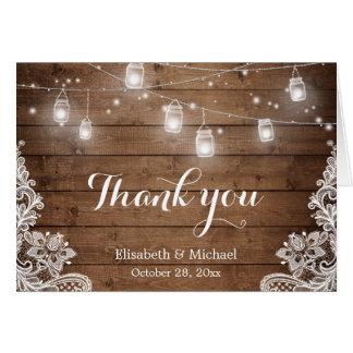 Merci en bois rustique de dentelle de lumières de carte de correspondance