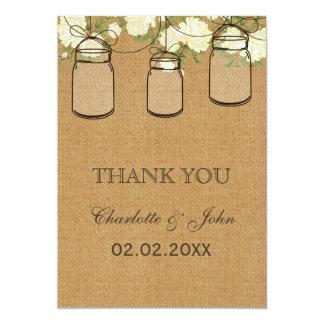 Merci en ivoire de pots de maçon de roses de toile carton d'invitation  12,7 cm x 17,78 cm