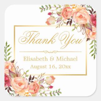 Merci floral de cadre d'or de rose élégant sticker carré