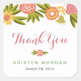 Merci floral de floraison de faveur de mariage sticker carré