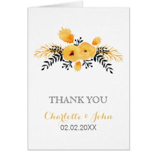 Merci floral de mariage d'aquarelle grise jaune carte de vœux