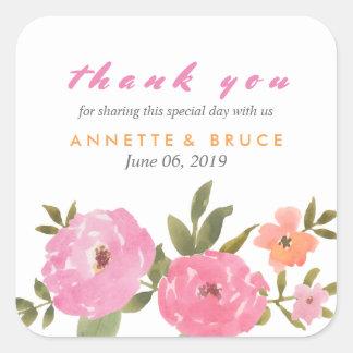 Merci floral de mariage d'aquarelle sticker carré
