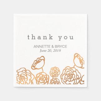 Merci floral de mariage de feuille d'or de luxe de serviettes en papier