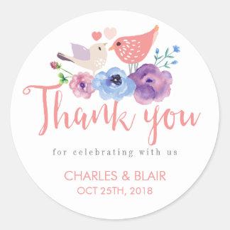 Merci floral d'inséparable vintage épousant sticker rond