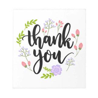 Merci floral manuscrit mignon de typographie blocs notes