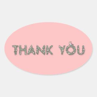 Merci floral sticker ovale
