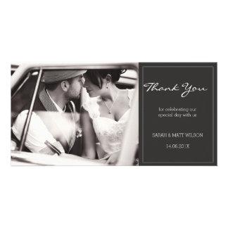 Merci gris moderne Photocard de mariage Carte Avec Photo
