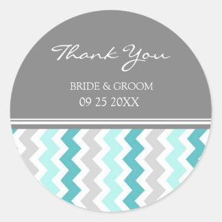 Merci gris turquoise de Chevron épousant des Sticker Rond