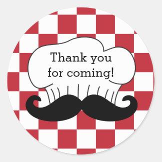 Merci italien de partie de pizza de moustache du sticker rond