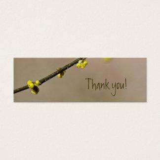 Merci jaune de coutume de fleur de ressort mini carte de visite