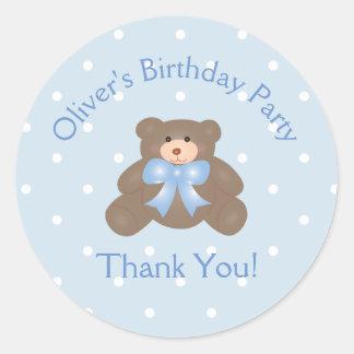 Merci mignon de fête d'anniversaire d'ours de sticker rond