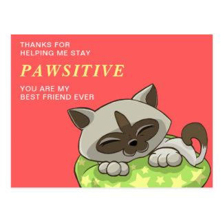 Merci mignon de motivation de chat du message | de cartes postales