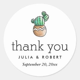 Merci minimal rustique de mariage de cactus sticker rond