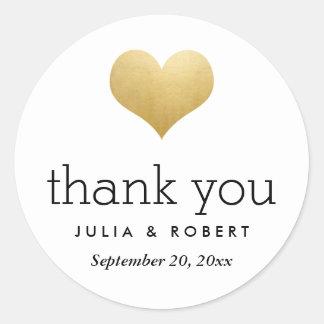 Merci moderne de mariage de coeur de feuille d'or sticker rond
