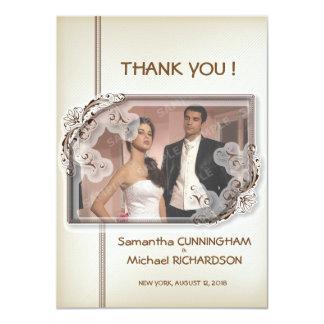 """"""" Merci moderne de mariage de photo de la damassé Carton D'invitation 11,43 Cm X 15,87 Cm"""