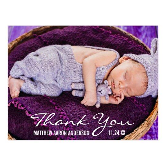 Merci moderne de photo de nouveau bébé carte postale