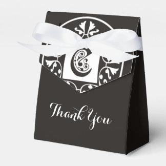 Merci noir et blanc initial du monogramme C | Boites Faveurs De Mariage