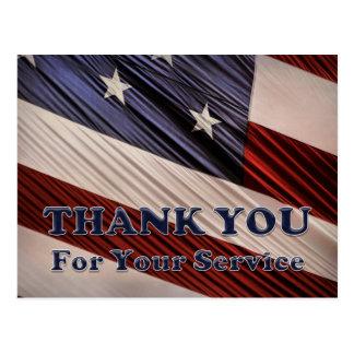 Merci patriotique de drapeau de vétérans carte postale