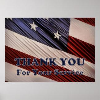 Merci patriotique de drapeau de vétérans poster
