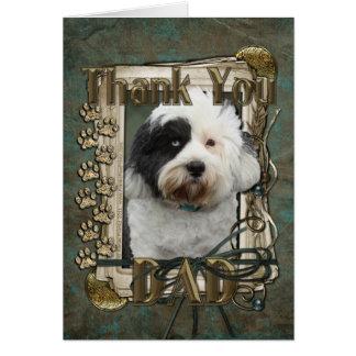 Merci - pattes en pierre - Terrier tibétain - papa Carte