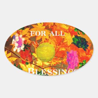 Merci pour des bénédictions sticker ovale