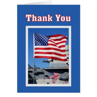 Merci pour des drapeaux de service militaire carte