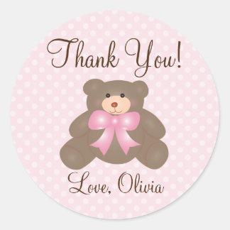 Merci pour le prochain baby shower de fille d'ours sticker rond