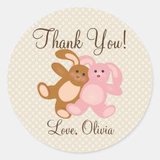 Merci pour les prochains lapins mignons de baby sticker rond