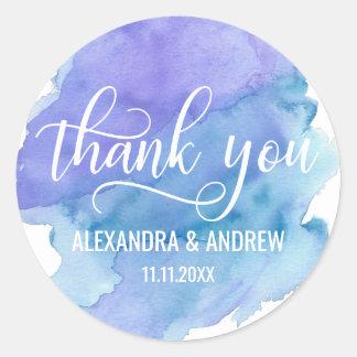 Merci pourpre bleu de mariage d'aquarelle sticker rond