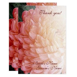 Merci rose de mariage de chrysanthème d'aquarelle carton d'invitation 8,89 cm x 12,70 cm