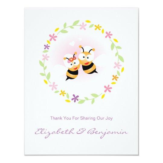 Merci rose pourpre de mariage de fleur de ressort carton d'invitation 10,79 cm x 13,97 cm