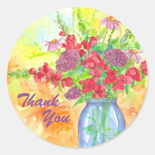 Merci rouge de bouquet de fleur sticker rond