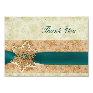 Merci rustique de mariage d'hiver d'aqua carton d'invitation  12,7 cm x 17,78 cm