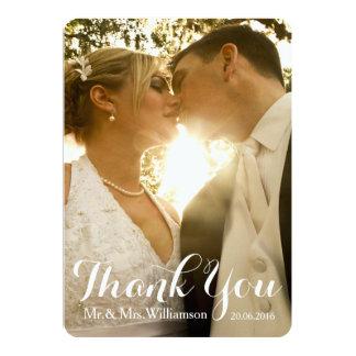Merci simple de photo de mariage d'écriture carton d'invitation  12,7 cm x 17,78 cm