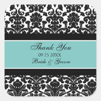 Merci turquoise de damassé épousant des étiquettes sticker carré