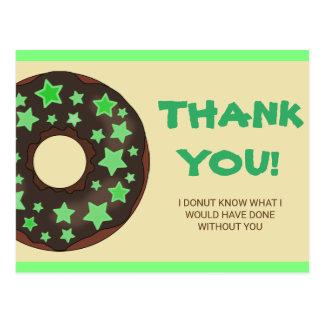 Merci vert mignon de beignet cartes postales