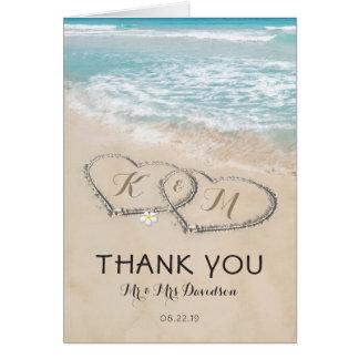Merci vintage tropical de rivage de coeur de plage carte de correspondance