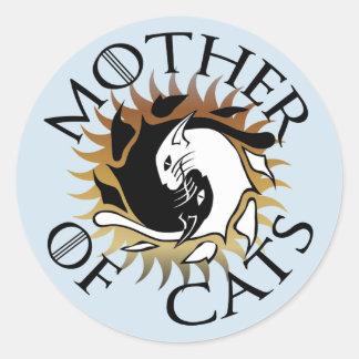 Mère d'autocollant rond de chats sticker rond