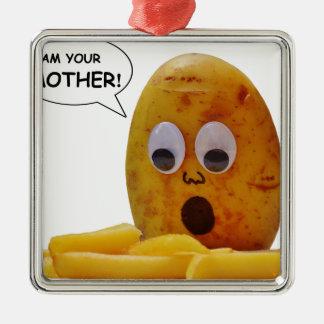 Mère drôle de pomme de terre ornement carré argenté