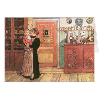 Mère et bébé dans la cuisine carte de vœux