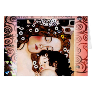 Mère et enfant par le collage de Gustav Klimt Carte De Vœux