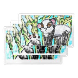 Mère et petit animal de panda plateau en acrylique