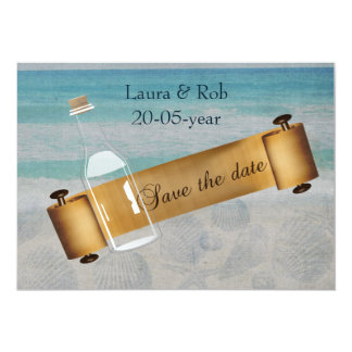 Message dans un mariage de plage de bouteille carton d'invitation  12,7 cm x 17,78 cm