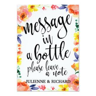 Message dans un signe floral abordable de mariage carton d'invitation  12,7 cm x 17,78 cm