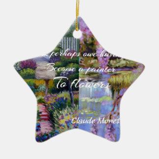 Message de Monet au sujet des fleurs Ornement Étoile En Céramique